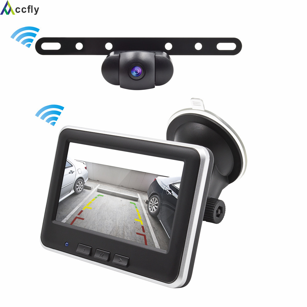 Accfly Wireless Car Reverse reversing Rear View Back Up Parking Camera License Plate camera with Monitor for Car SUV RV ccd car track camera directive parking assistance for honda odyssey car rear view reversing trajectory back up waterproof hd