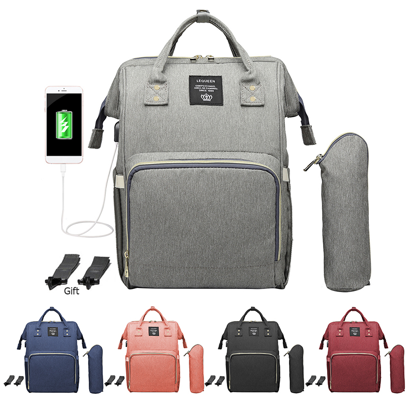 Fashion USB Charging Mummy Diaper Bags Maternity Nursing Bag Large Capacity Waterproof Travel Backpacks Baby Stroller Care Bags