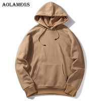 Aolamegs Hoodies Men Solid Thick Hood High Street Pullover Sweatshirt Men Fashion Casual Hip Hop Streetwear