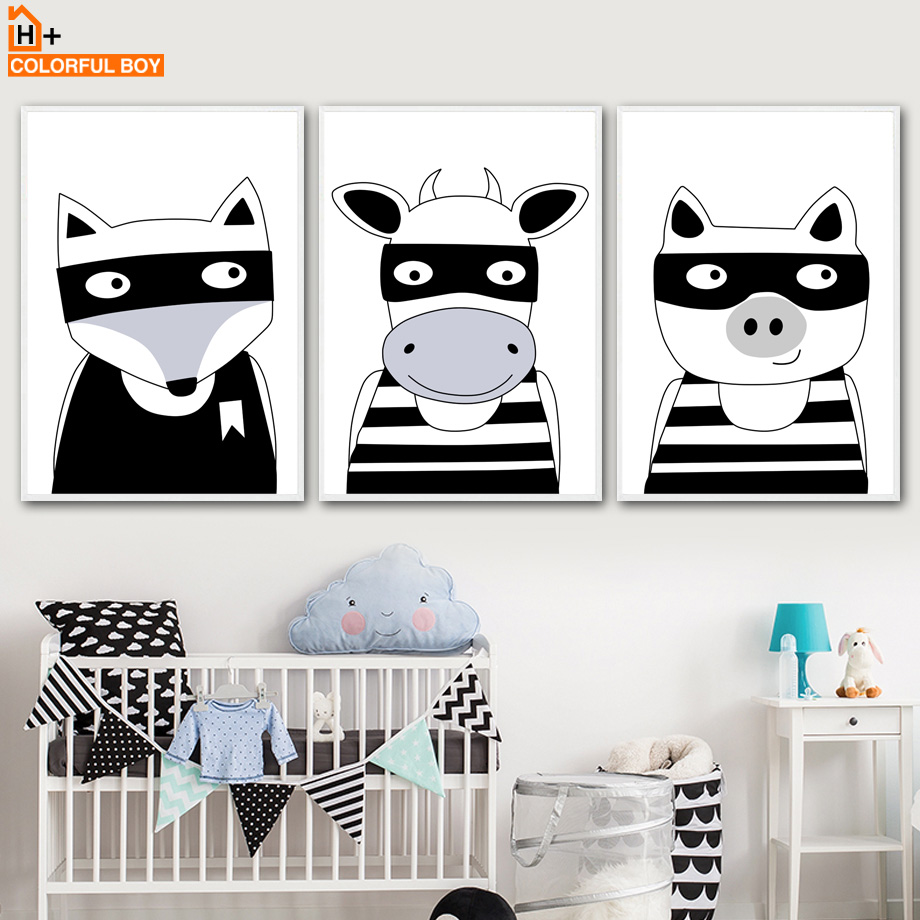 COLORFULBOY Fox Cow Pig Wall Art Print Canvas Painting Black White Posters And Prints Wall Pictures Nordic Style Kids Decoration