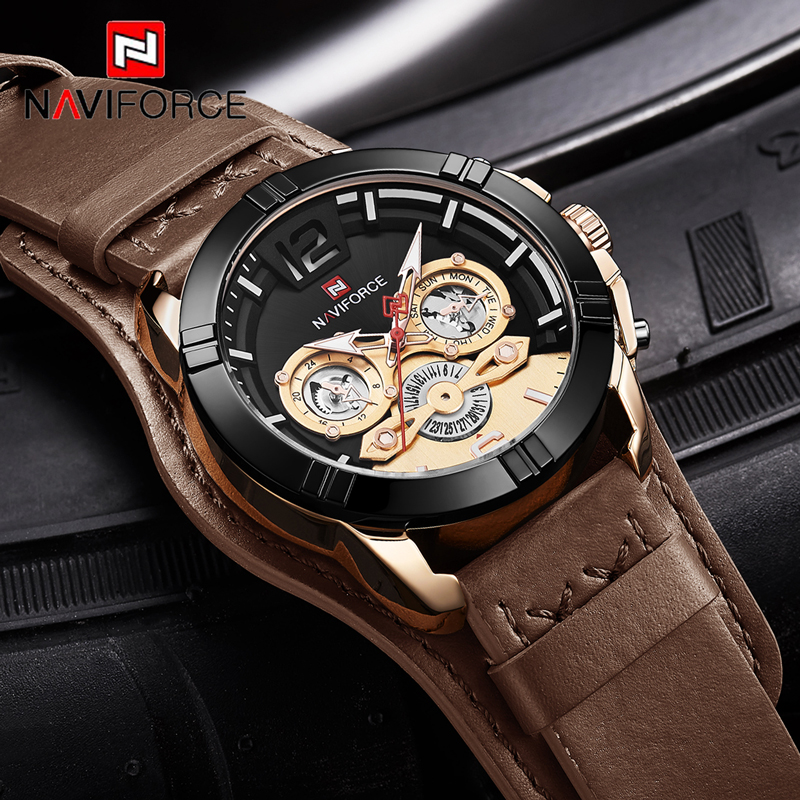NAVIFORCE Men Analog Quartz Watches Fashion Luxury Business Watch Men Leather Waterproof Wristwatch Male Clock Relogio Masculino