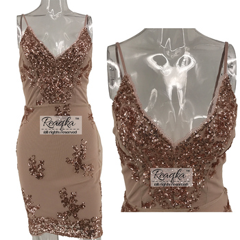 Womens Gold Black Sequins Summer Dress 2018 Sexy V neck Backless Women Sundress Luxury Party Club Wear Mini Dresses Vestidos New 2