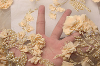 Latest Gold African Net Lace Fabric Applique With Beads Good Quality French Tulle 3d Lace Fabric