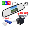 CCD HD Водонепроницаемый Парковка Мониторы Системы, LED Ночного Видения 170 Автомобильная Камера Заднего вида С 4.3 дюймов Автомобиль Зеркало Заднего Вида Монитор