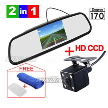 CCD HD Waterproof  Parking Monitors System, LED Night Vision 170 Car Rear View Camera With 4.3 inch Car Rearview Mirror Monitor