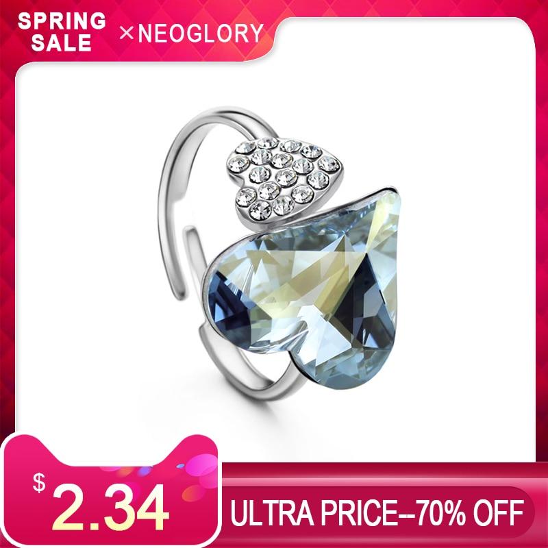 Neoglory Österrike Crystal & Czech Rhinestone Justerbar Finger Ring - Märkessmycken
