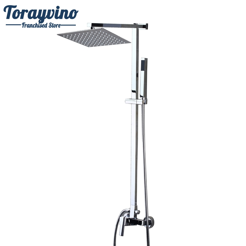 Torayvino Chrome Finished Wall Mount 8 Big Rain Shower Set Mixer Faucet Bathroom Shower With Adjust Height Handheld Shower Set gappo classic chrome bathroom shower faucet bath faucet mixer tap with hand shower head set wall mounted g3260
