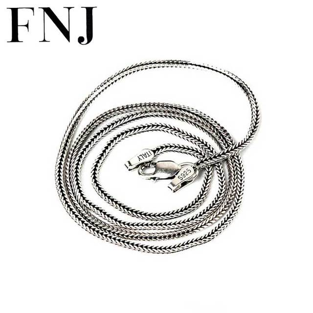 3 Kinds of Foxtail Chain 925 Sterling Silver Necklace for Women Men Jewelry Thai
