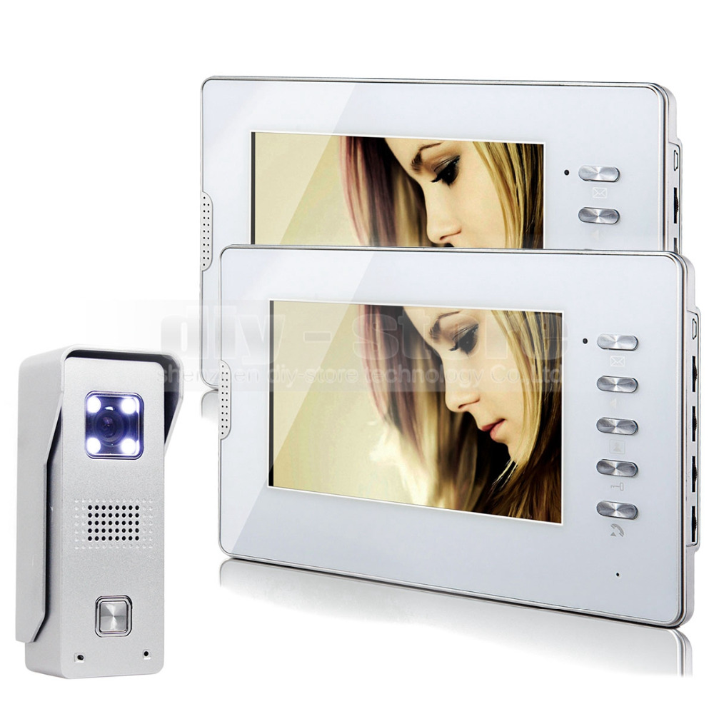DIYSECUR 7 Inch TFT LCD Monitor Colour Video Door Phone Doorbell Home Intercom System 1V2 White 7 inch tft lcd monitor colour video door phone doorbell home intercom system 1v4