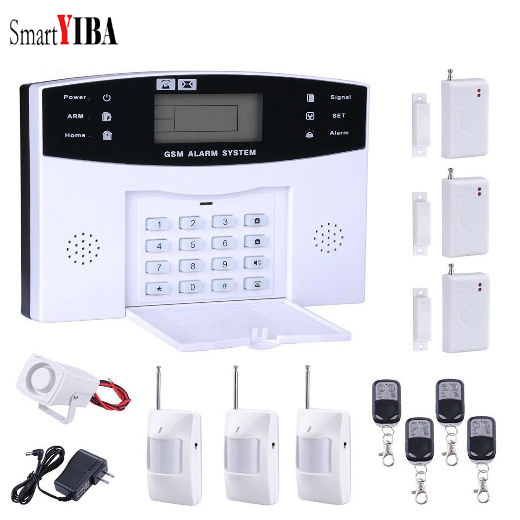 SmartYIBA PIR Motion Sensor Wireless GSM Burglar Home Security Alarm System English Russian French Spanish Italian Cezch Voice