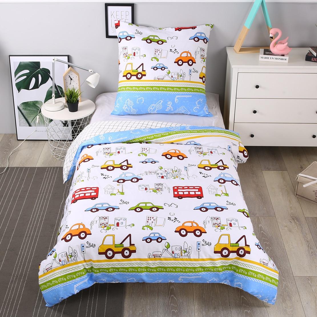 Kids Boys Bedding Set Cars Vehicles Duvet Cover Soft Kids Duvet Cover Set Quilt Cover 100% Cotton Bed Set 2pcs Set