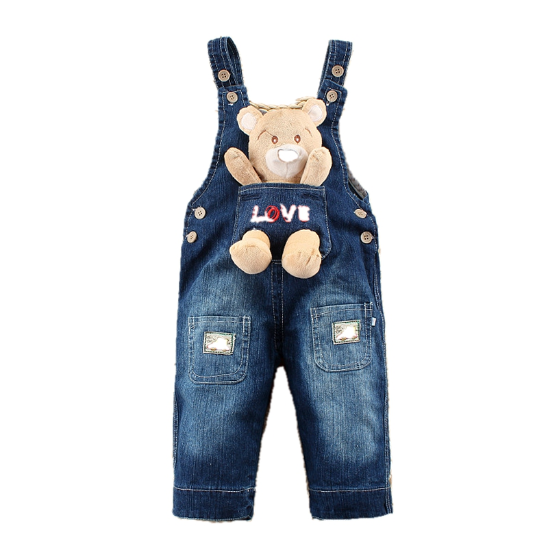 1-2 Years Baby Girl Clothing Bebe Boy Overalls Animal Bear Long Pants Cartoon Kwaii Jumpsuit Denim Jeans Rompers Toddler Clothes