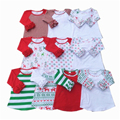 Christmas Ruffled Raglan Baby Girls T-shirt Knit Cotton Autumn School Girls Clothes Icing Style Shirt Toddler Outfit