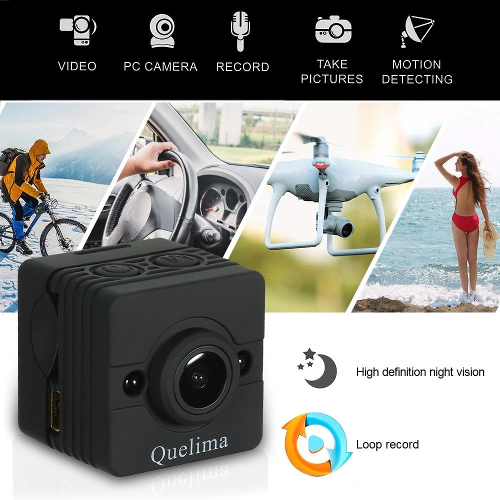Quelima SQ12 Mini Caméra de Vision Nocturne Dash Cam 155 Degrés FHD 1080 P DVR