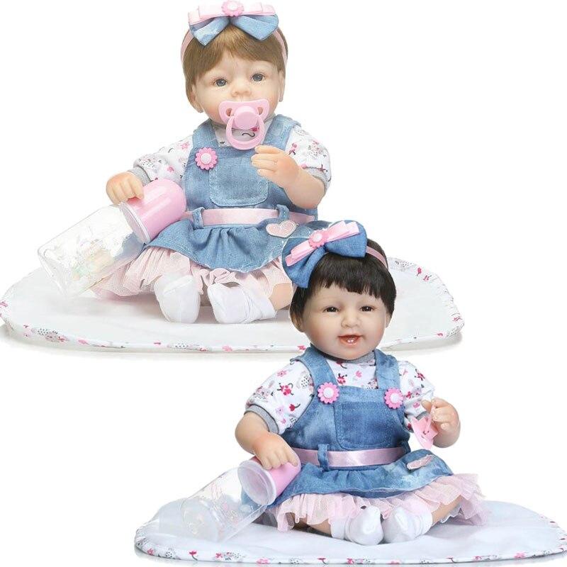 ФОТО 45cm Relistic Kids Gift Dolls 17inch Soft Silicone Reborn Doll Toys Denim Clothing Girl Baby Toys Newborn Lifelike Brinquedos