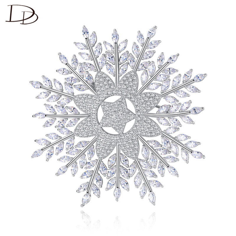 DODO Luxurious Snowflake Brooches For Women Office Ladies Jewelry Full AAA Zircon Big Size Brooch Good Smooth Plating Gift 20E01