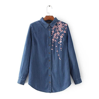 Dioufond Embroidery Denim Shirt Women Floral Vintage Jeans Blouses Casual Fashion Female Autumn Top Vintage Long