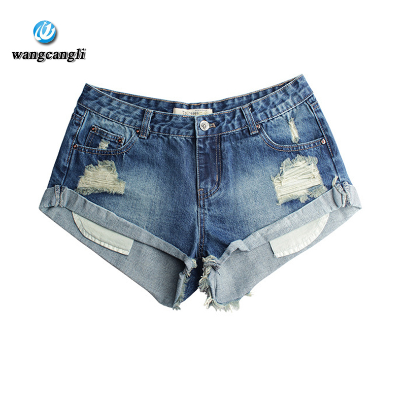 Jeans for women low waist pants loose curling worn hot pants shorts women hole denim short jeans feminina blue 2XL summer pants summer women fashion high waist jeans shorts worn hole straight denim shorts solid blue curling edge poket casual shorts