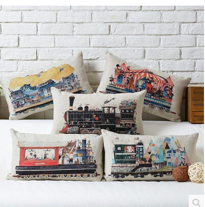 Wholesale 30 * 50cm Retro Steam Train pillow cases Industrial Revolution pillowcase Cotton Linen sofa Cushion Cover home decor