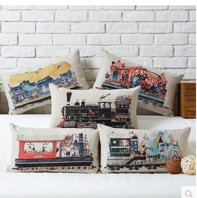 Wholesale 30 * 50cm Retro Steam Train pillow cases Industrial Revolution pillowcase Cotton Linen sofa Cushion Cover home decor