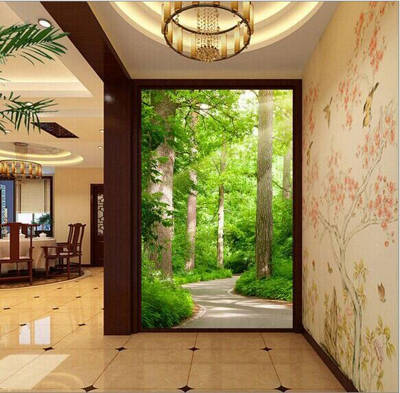Pastoral paisaje natural espacio a expandir 3d mural papel - Papel pared rayas verticales ...
