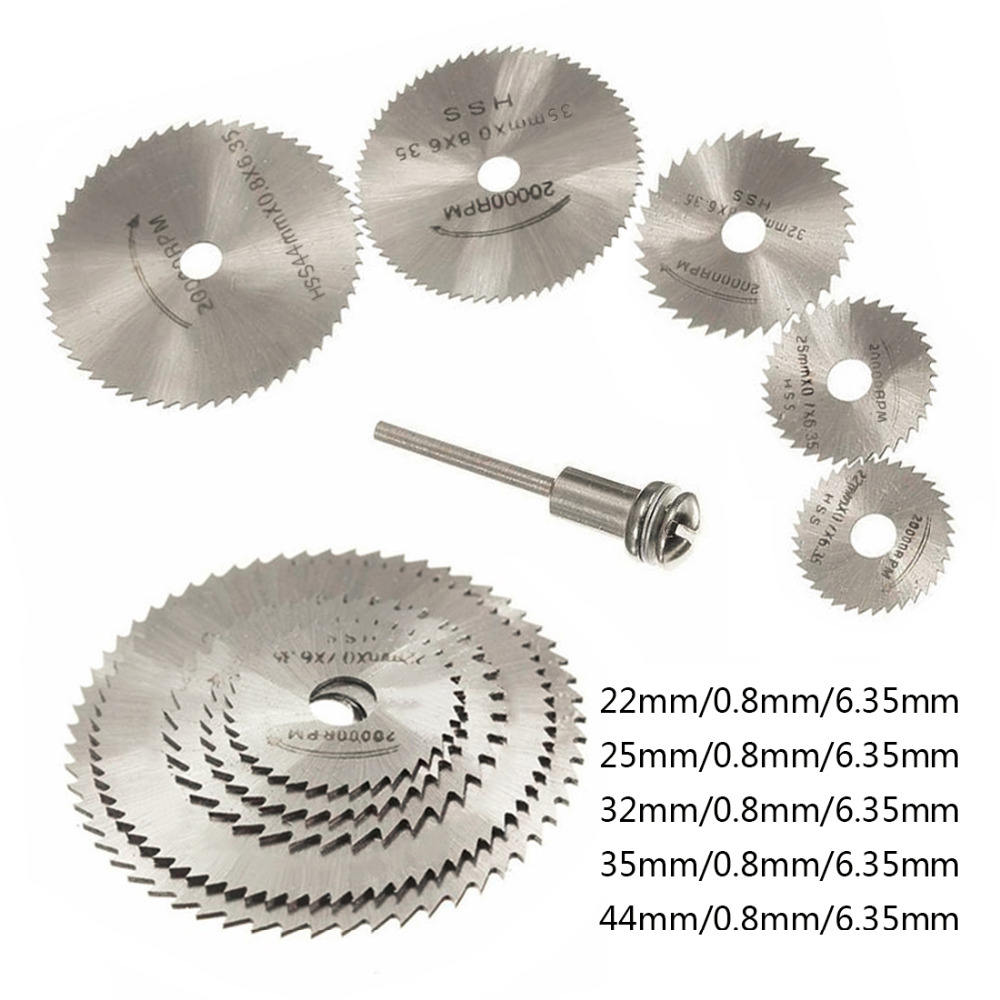 6pcs/Set HSS Mini Circular Saw Blade Woodworking Cutting Discs Drill For Rotary Tools Metal Cutter Power Tool Mandrel Set 6pcs hss circular saw blade cutting discs wheel set for rotary tool