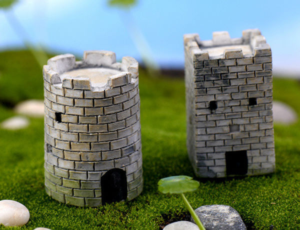 2pcs the ancient city wall fairy garden miniatures resin for Deco jardin miniature