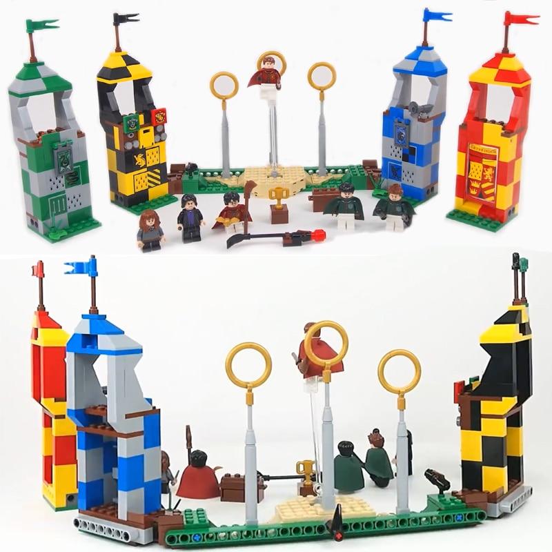 2018 Jaunais Harri Potter Cūkkārpas Quidditch spēles veidošanas bloki komplekts ķieģeļu rotaļlietām bērniem saderīgs LegoINGlys 75956