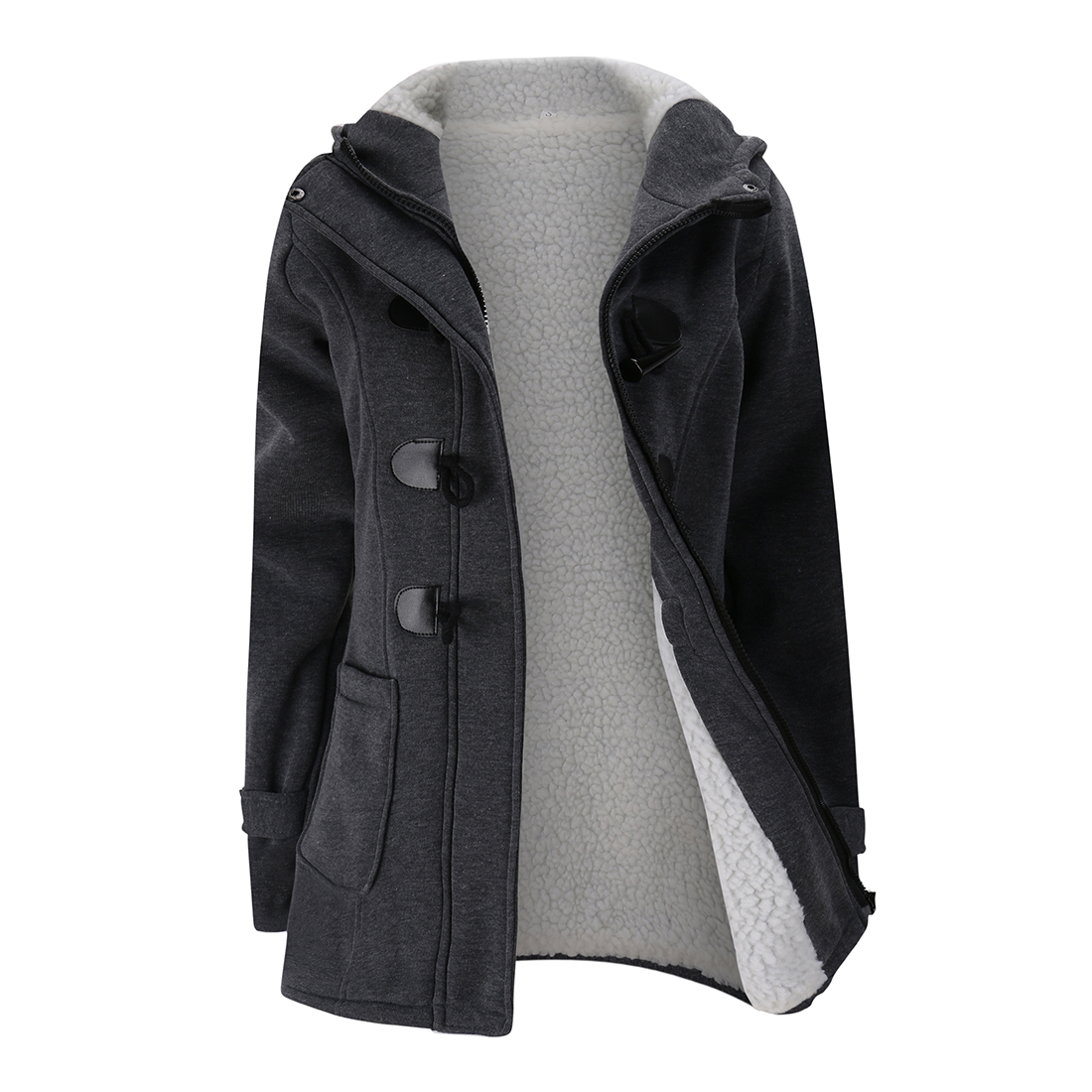 Women's Trench Coat Autumn Thick Lining Winter Jacket Overcoat Long Hooded Zipper