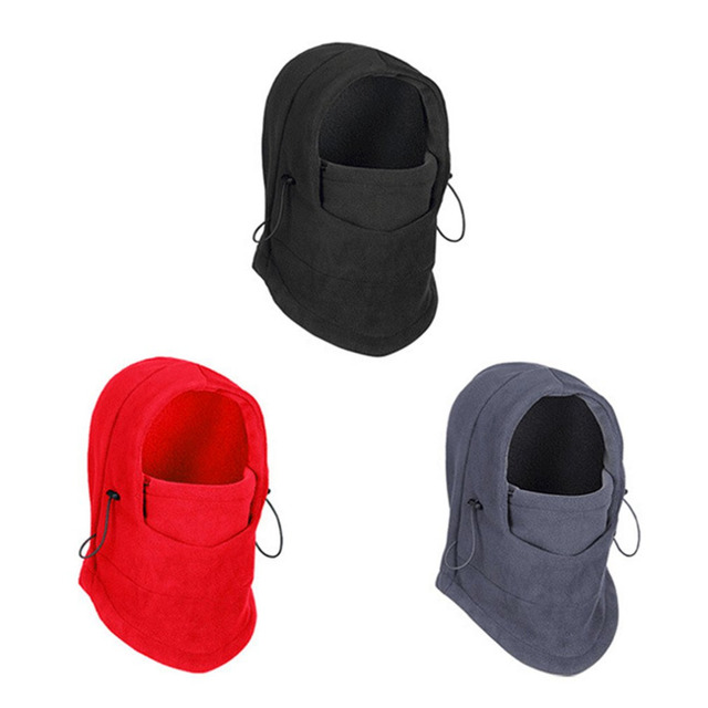 Thermal Fleece Balaclava Hat Hooded Neck Warmer Cycling Face Mask Winter Sports Face Mask for Men Bike Helmet Beanies Masked cap