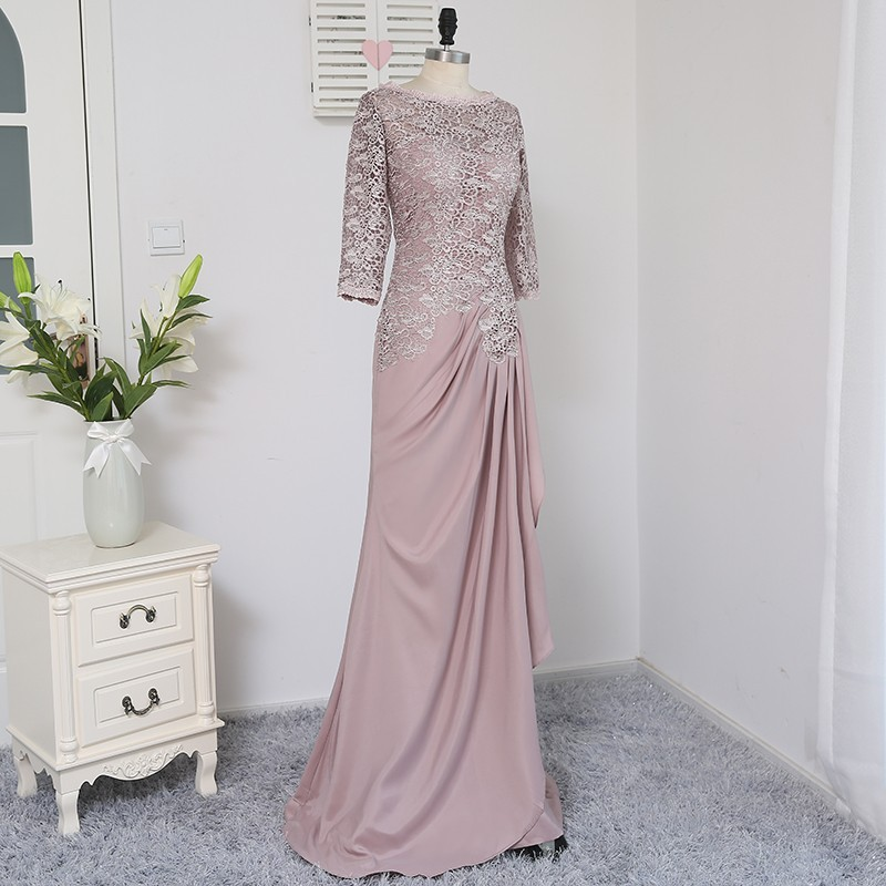 Plus Size Brown 2018 Mother Of The Bride Dresses A-line 3/4 Sleeves Chiffon Lace Wedding Party Dress Mother Dresses For Wedding 4