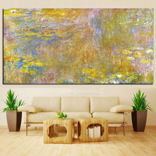 Wall Art Canvas Claude Monet Oil Painting Gold Lotus Landscape Oil Painting Impressionist Poster Picture for Living Room painting the impressionist landscape