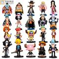 Q Versión de figuras de anime One Piece Luffy Zoro Figuras de Acción PVC Figuras de Colección Modelo Juguetes Anime Japonés de Animación 20 unids/set