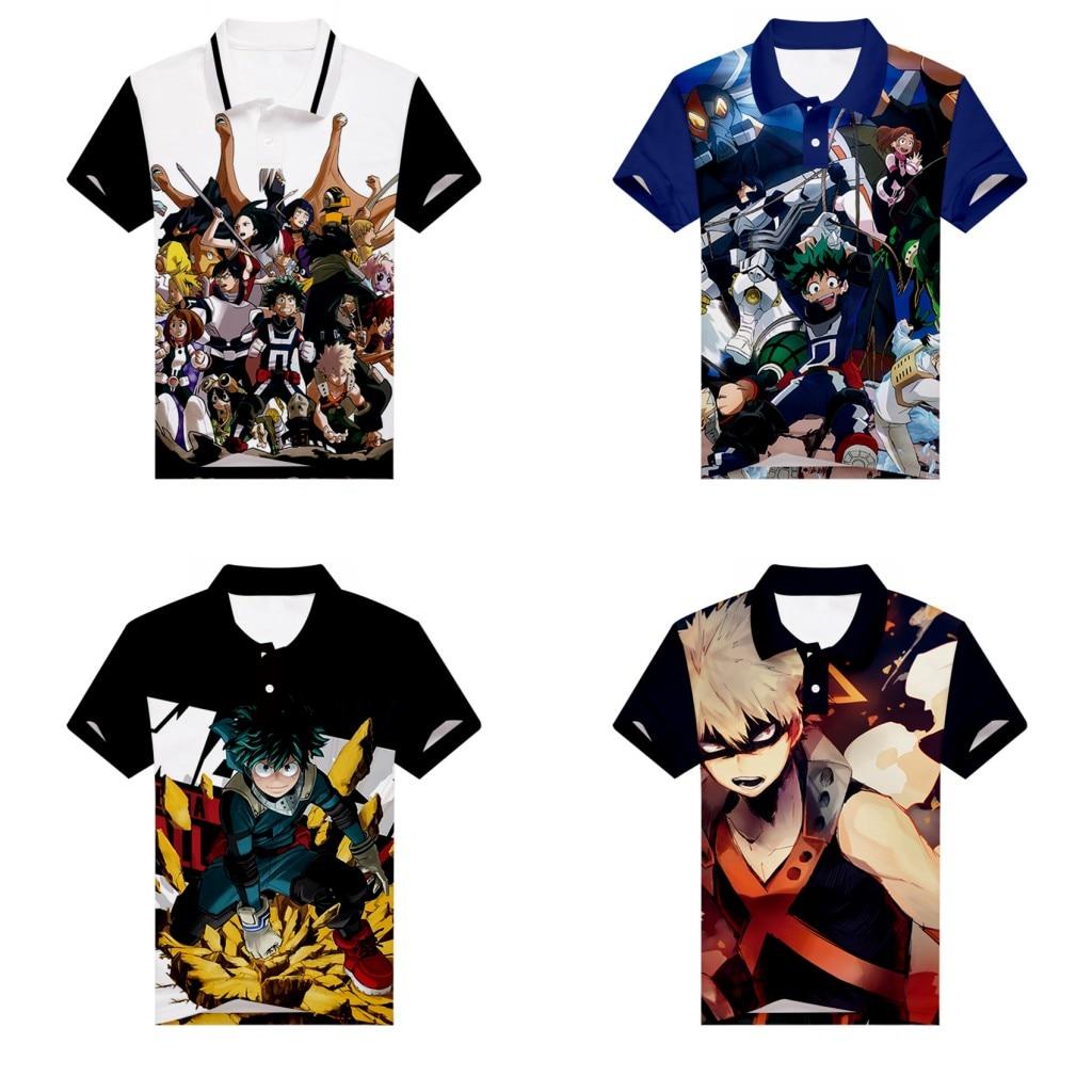 Anime My Hero Academia   Polo   Shirt Midoriya Izuku 3D Print Men Teenager golf shirt Short Sleeve Unisex Summer tennis shirt Tees