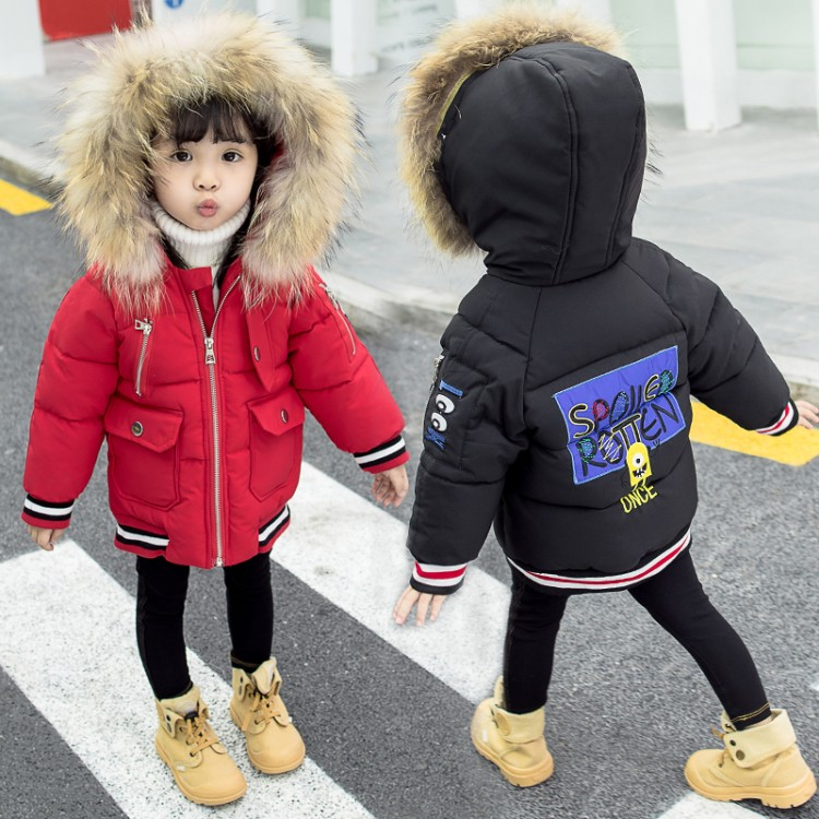 DZIECKO Girls Down Parkas Jackets Winter Jacket Girl Fashion Children Down Coat For Girls Embroidered Fur Hooded Parka Jackets children girl jackets winter down coat jacket for girl fashion children fur hooded thick cotton down warm solid kid parka jacket