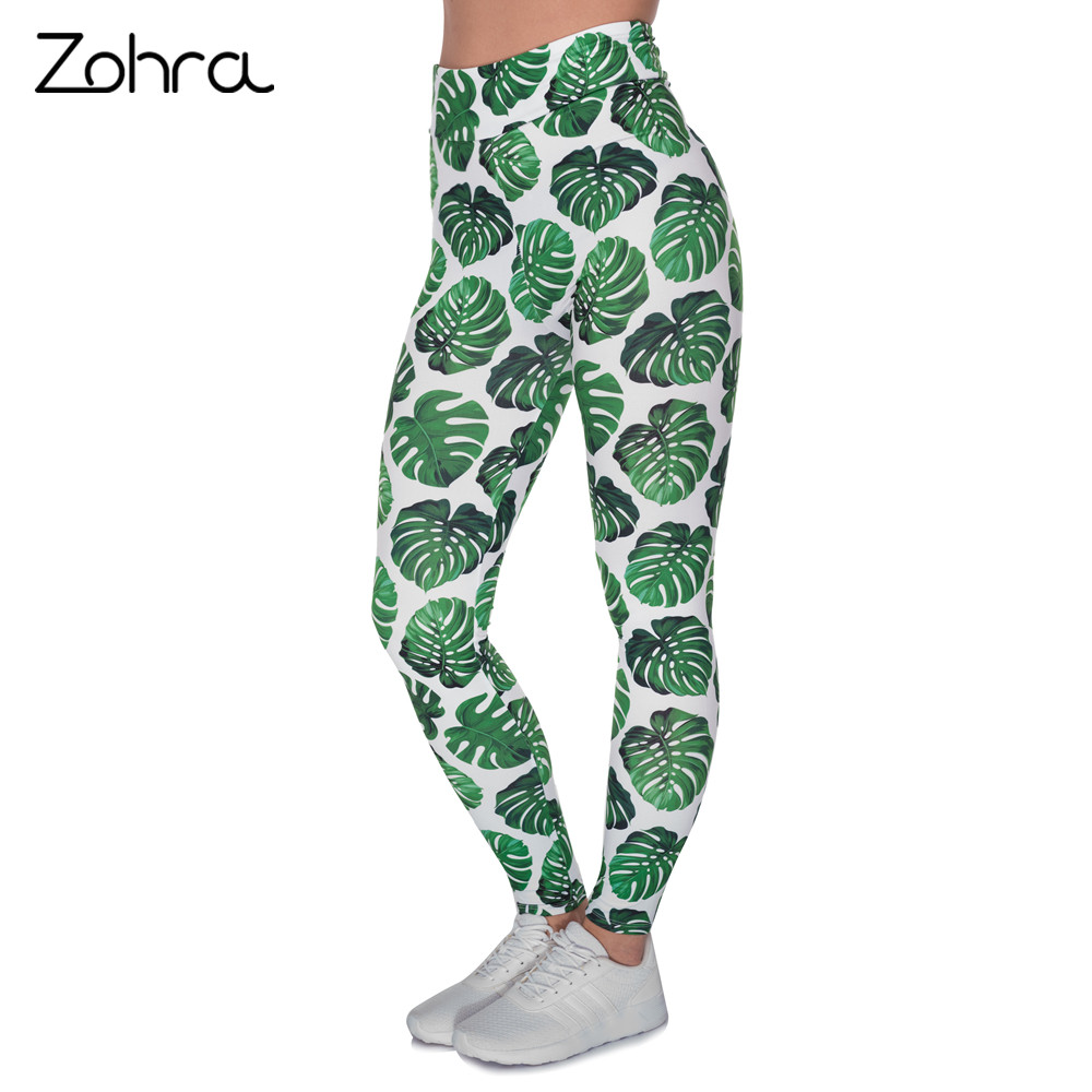 Zohra Women High Waist   Legging   Monstera White Printing   Leggings   Fashion Fitness Woman Pants