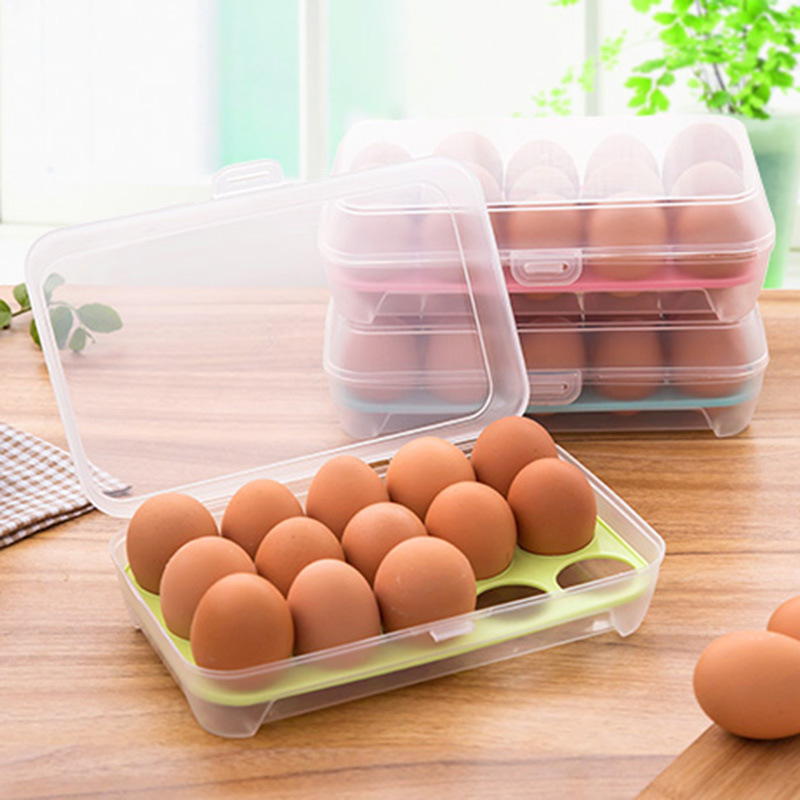 Kitchen Supplies 15 Grid Transparent Egg Refrigerator Storage Box Portable Outdoor Anti-collision Plastic Egg Box Food Container