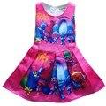 2017 Bebé vestido de la muchacha de TROLLS magia de dibujos animados de verano vestido de algodón niño niños ropa para niños ropa niños del vestido de los bebés ropa
