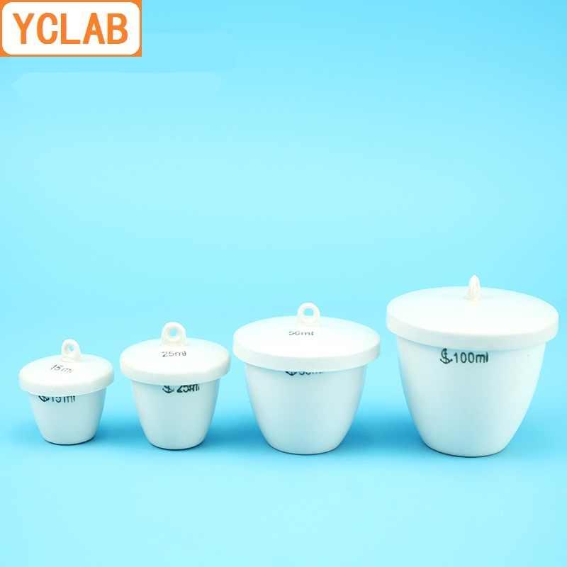 Yclab 200 ml cerâmica cadinho de parede média com tampa cerâmica porcelana louça barro laboratório química equipamentos