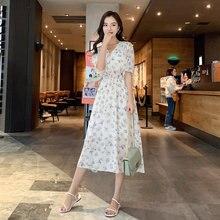 цены на Women Chiffon Dress Summer Vintage V-neck Elastic Waist Flare Sleeve Floral Print Female Boho Dress 2019 New Beach Midi Vestidos  в интернет-магазинах