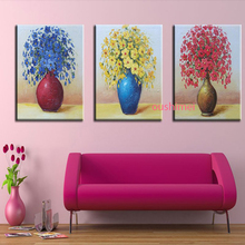 Flowers in Bottle Hand Painted Modern Pictures On Canvas Oil Painting Handmade Artwork Living Room Decor