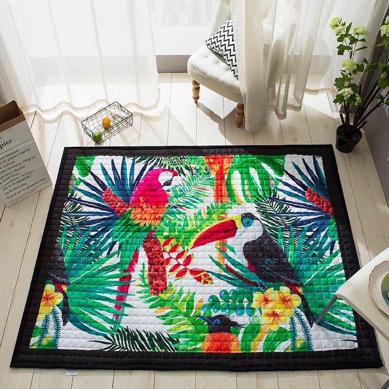 Svetanya Parrot Print Kids Baby Floor Carpet Rectangle Bedroon Parlor Rug baby Crawling Mats 57x76x0.6