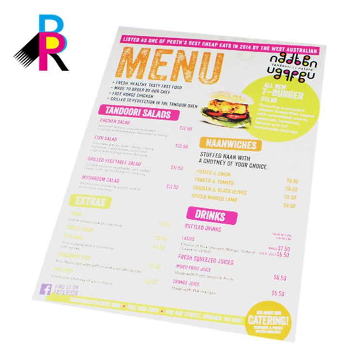 Professional Design Good Quality Custom Menu Booklet Printing