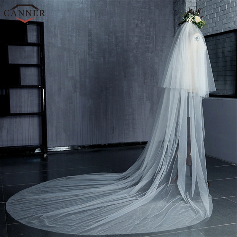 290CM White Cathedral Wedding Veils Long Elegant Bridal Veils with Head Veil Comb Wedding Accessories Gifts H40