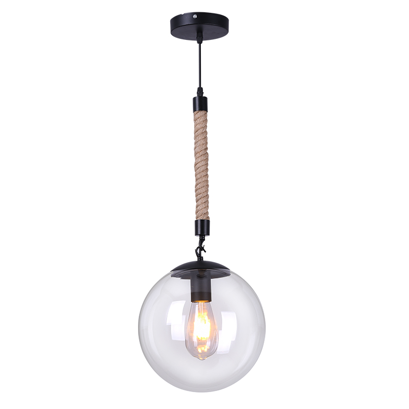 Loft Vintage retro Industrial Hemp rope clear glass Pendant Light  style iron edison glass for Living Room Cafe bar pendant lamp edison inustrial loft vintage amber glass basin pendant lights lamp for cafe bar hall bedroom club dining room droplight decor