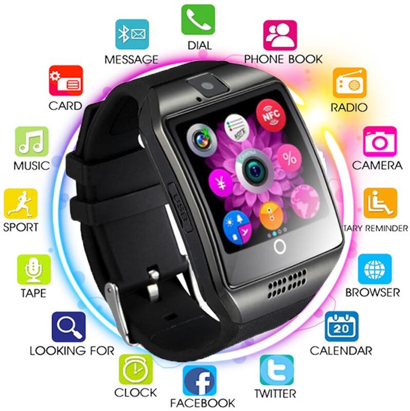 Bluetooth Relógio Inteligente Q18 Sim Apoio TF Cartão Homens Mulheres Reloj Inteligente para IOS Samsung Android Xiaomi Huawei PK A1 y1 Q8