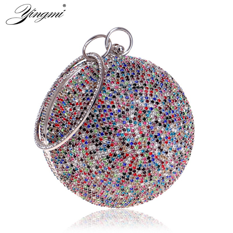 YINGMI Circular Shaped Women Evening Clutch Bags Rhinestones Lady Wedding Handbags Chain Shoulder Diamonds Party Purse luxury diamonds women clutch bag rhinestones evening bags for wedding bridal party handbags with chains smyzh f0320