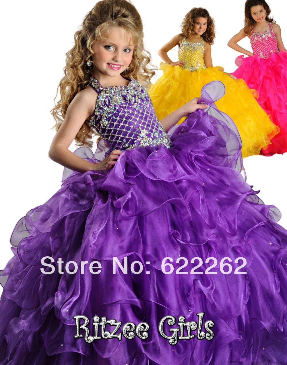 df20f0390e6 Big discount sweep train ball gown halter purple ruffles organza flower  girls dresses lace up cheap pageant girls dress