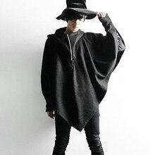 Осенне-зимний мужской плащ с капюшоном, шерстяной длинный плащ, сценический костюм для ночного клуба, Мужское пальто в стиле панк, готика, одежда, накидка