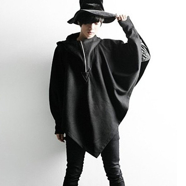 Autumn winter men personality hooded cloak wool long trench coat nightclub  stage costume mens punk overcoat gothic clothing cape b02278b56